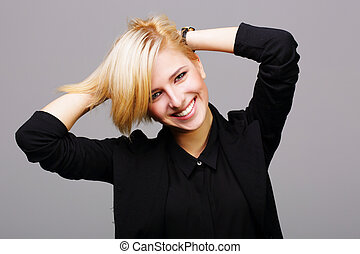 portret, od, niejaki, młody, radosny, kobieta, na, szare tło
