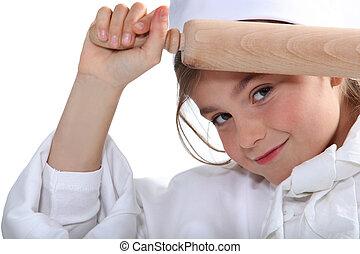 portret, od, niejaki, mała dziewczyna