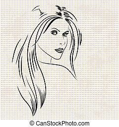portret, od, niejaki, piękna kobieta