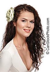 portret, od, niejaki, piękna kobieta, z, kwiaty, w, jej, hair.