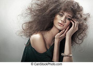 portret, od, niejaki, piękno, brunetka