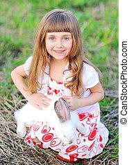 portret, od, niejaki, piękny, mała dziewczyna, w, przedimek określony przed rzeczownikami, lato