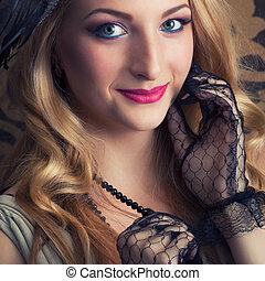 portret, od, niejaki, piękny, retro, kobieta