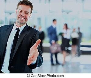 portret, od, niejaki, pomyślny, biznesmen, udzielanie, niejaki, ręka.