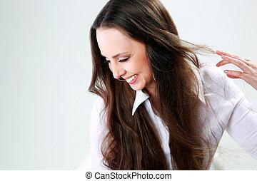 portret, od, niejaki, szczęśliwa kobieta, na, szare tło