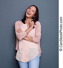 portret, od, niejaki, uśmiechanie się, młoda kobieta