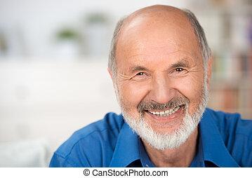 portret, od, niejaki, uśmiechanie się, pociągający, starszy...