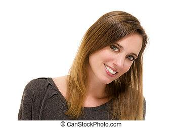 portret, od, niejaki, uśmiechnięta kobieta, na białym, tło