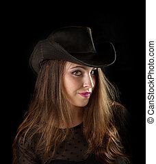 portret, od, niejaki, uśmiechnięta kobieta, na, czarnoskóry, tło.