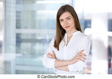 portret, od, nowoczesna sprawa, kobieta, w, biuro