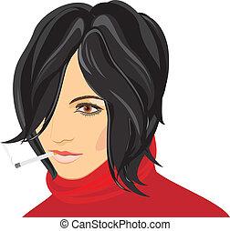 portret, od, palenie, kobieta