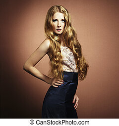 portret, od, piękna kobieta, z, czerwony włos, w, wieczorny strój