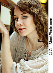 portret, od, piękna kobieta