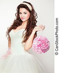 portret, od, piękny, bride., ślub, dress.