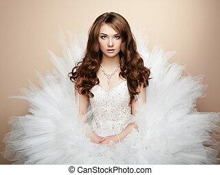 portret, od, piękny, bride., poślubna fotografia