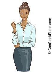 portret, od, piękny, czarna kobieta