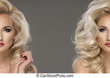 portret, od, piękny, czuciowy, blondynka, kobieta, z, długi, kędzierzawy, hair., piękno, photo.