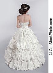 portret, od, piękny, czuciowy, kobieta, z, elegancki, hairstyle., ślub, dress., fason, fotografia