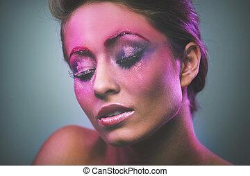 portret, od, piękny, dziewczyna, z, różowy, makijaż