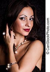 portret, od, piękny, młoda kobieta