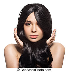 portret, od, piękny, młody, brunetka, kobieta, z, długi, falisty, hair., odizolowany, na białym, tło.