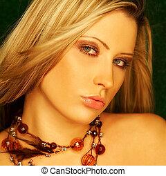 portret, od, piękny, młody, sexy, kobieta
