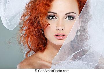 portret, od, piękny, redheaded, bride., ślub, dress., ślub, ozdoba