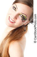 portret, od, piękny, wzór, kobieta, z, twórczy, makijaż, i, kudły, na białym, tło