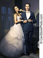 portret, od, pociągający, poślubna para