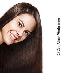 portret, od, pociągający, uśmiechanie się, brunetka, kobieta, z, kudły, odizolowany, na białym