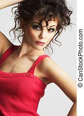 portret, od, sexy, kobieta, z, piękny, charakteryzacja