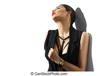 portret, od, sexy, młoda kobieta, w, czarne ubranie, odizolowany, na białym, tło