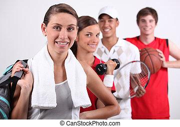 portret, od, sporty, ludzie
