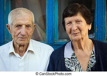 portret, od, starsza para