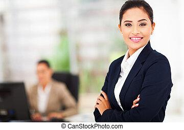 portret, od, uśmiechanie się, handlowa kobieta