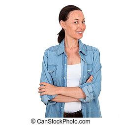 portret, od, uśmiechnięta kobieta, na białym, tło