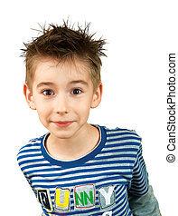 portret of surprised smiling boy isolated on a white background