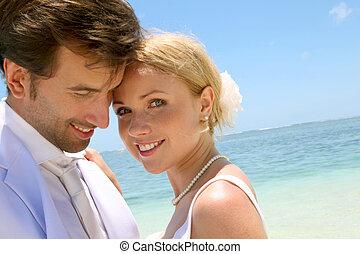 portret, para, żonaty, plaża, właśnie
