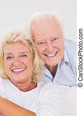 portret, para, do góry, starszy, zamknięcie