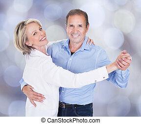 portret, para, kochający, taniec