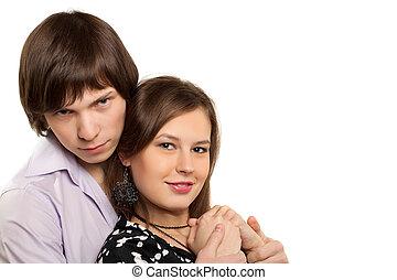 portret, para, kochający