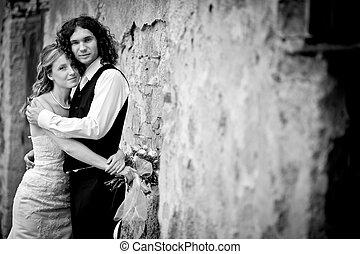 portret, para, młody, ślub