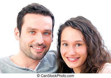 portret, para, młody, szczęśliwy