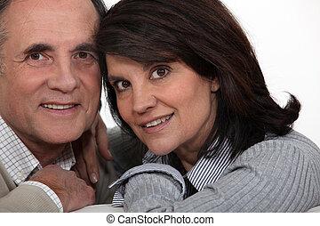 portret, para, wiek średni