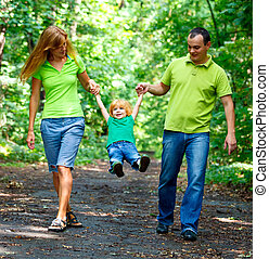 portret, park, rodzina, szczęśliwy