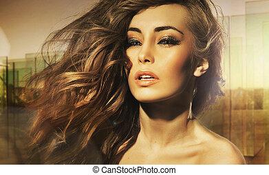 portret, piękno, długo-haired