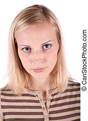 portret, piękny, młoda kobieta, odizolowany, na białym