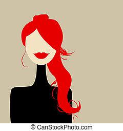portret, projektować, kobieta, fason, twój