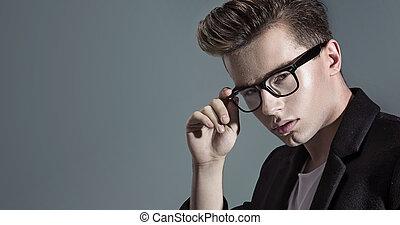 portret, przystojny, closeup, młody mężczyzna