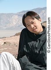 portret, przystojny, młody, chińczyk, człowiek